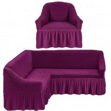 Чехол на угловой диван и одно кресло фиолетовый ML-17