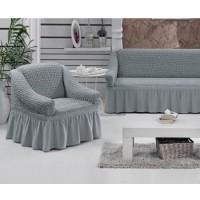 Набор универсальных натяжных чехлов на угловой диван и одно кресло серый ML-08