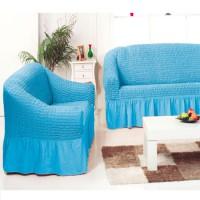 Набор универсальных натяжных чехлов на угловой диван и одно кресло голубой ML-09