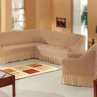 Набор универсальных натяжных чехлов на угловой диван и одно кресло медовый ML-12
