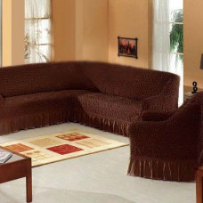 Набор универсальных натяжных чехлов на угловой диван и одно кресло коричневый