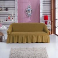 Чехол на трехместный диван универсальный горчичный W-19