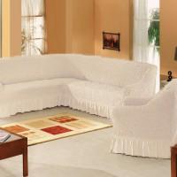 Набор универсальных натяжных чехлов на угловой диван и одно кресло кремовый ML-06