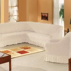 Набор универсальных натяжных чехлов на угловой диван и одно кресло кремовый