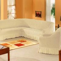 Чехол на угловой диван и одно кресло натурал ML-01