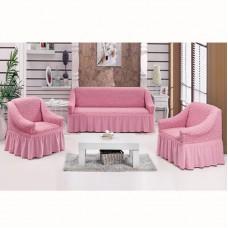 Чехол на 3-х местный диван и 2 кресла светло-розовый S-27