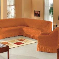 Набор универсальных натяжных чехлов на угловой диван и одно кресло горчичный