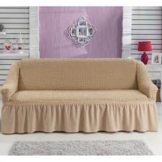Чехол на трехместный диван с оборкой бежевый