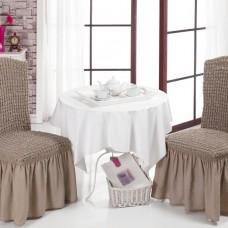 Комплект чехол на стул со спинкой, 2 шт. какао