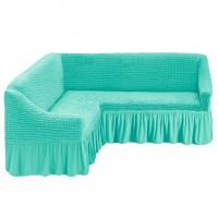 Чехол на угловой диван с оборкой бирюзовый M-16