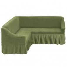 Чехол на угловой диван с оборкой фисташковый M-24