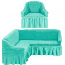 Чехол на угловой диван и одно кресло бирюзовый ML-23