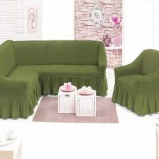Чехол на угловой диван и одно кресло фисташковый ML-18
