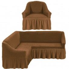 Чехол на угловой диван и одно кресло корица ML-24