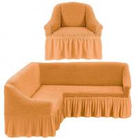 Чехол на угловой диван и одно кресло универсальный персиковый ML-22