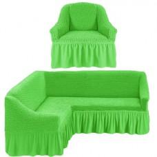 Чехол на угловой диван и одно кресло на резинке салатовый ML-21