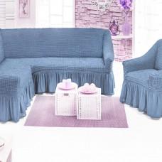 Чехол на угловой диван и одно кресло серо-голубой ML-19