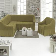 Чехол на угловой диван и одно кресло темно-оливковый ML-26