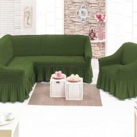Чехол на угловой диван и одно кресло зеленый ML-02