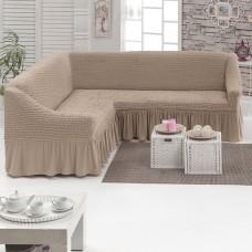 Чехол на угловой диван на резинке какао M-28