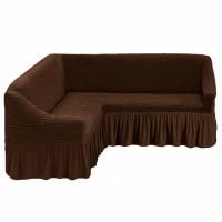 Чехол на угловой диван универсальный коричневый M-06