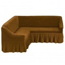 Чехол на угловой диван корица M-21