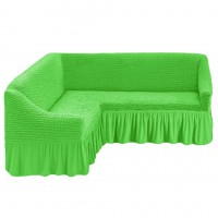 Чехол на угловой диван на резинке салатовый M-25