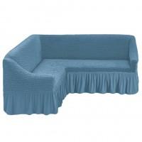 Чехол на угловой диван на резинке серо-голубой M-27
