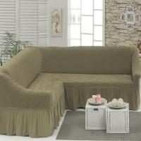 Чехол на угловой диван на резинке темно-оливковый M-23