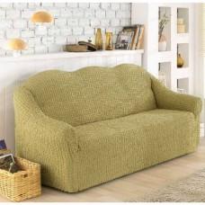 Чехол на диван трехместный без юбки бежевый O-92
