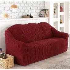 Чехол на диван трехместный без юбки бордовый O-94