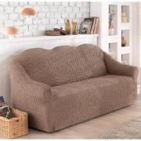 Чехол на диван трехместный без юбки кофейный O-91