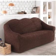 Чехол на диван трехместный без юбки коричневый O-93