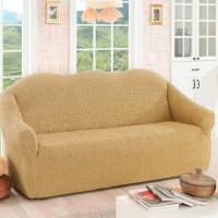 Чехол на диван трехместный без оборки медовый O-96