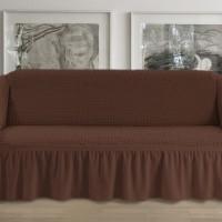 Чехол на четырехместный диван коричневый p004