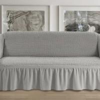 Чехол на четырехместный диван с юбкой серый