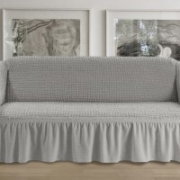Чехол на четырехместный диван серый p006