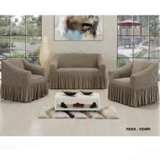Чехол на диван и 2 кресла соты Vip Altinkoza серый S-23