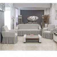 Чехол на диван и 2 кресла Vip Altinkoza серый/кремовый S-15