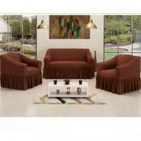 Чехол на диван и 2 кресла Vip Altinkoza соты коричневый S-38