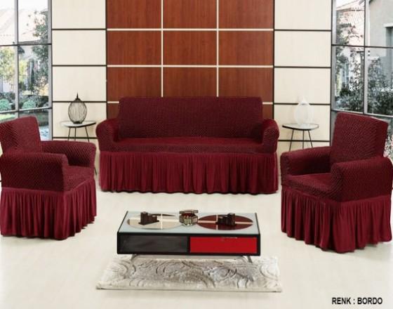 Чехол на диван и 2 кресла Vip Altinkoza бордовый S-17