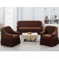 Чехлы на диван и 2 кресла соты коричневый J-04