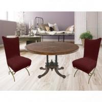 Чехлы на стулья со спинкой без юбки комплект 6 шт. бордовый L-02