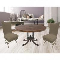 Чехлы на стулья со спинкой без юбки комплект 6 шт. кофе L-06