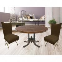 Чехол на стул со спинкой без юбки комплект 6 шт. коричневый L-01