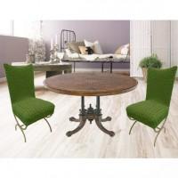 Чехлы на стулья со спинкой без юбки комплект 6 шт. зеленый L-04