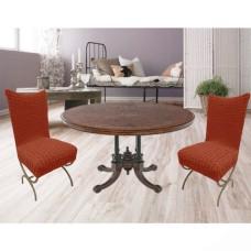 Чехлы на стулья со спинкой без юбки комплект 6 шт. кирпичный L-15