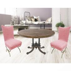 Чехлы на стулья со спинкой без юбки комплект 6 шт. розовый L-14