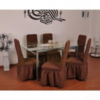 Чехол на стул со спинкой, комплект из 6 шт. коричневый X-02