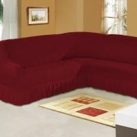 Чехол на угловой диван на резинке бордовый M-02